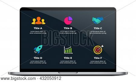 Notebook Mock Up. Laptop Infographic Slide Template. 6 Steps, Parts, Options. Color Business Icons.
