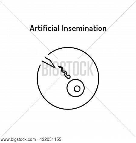 In Vitro Fertilization Linear Medical Icon. Abstract Vector Illustration Of Egg And Spermatozoon In