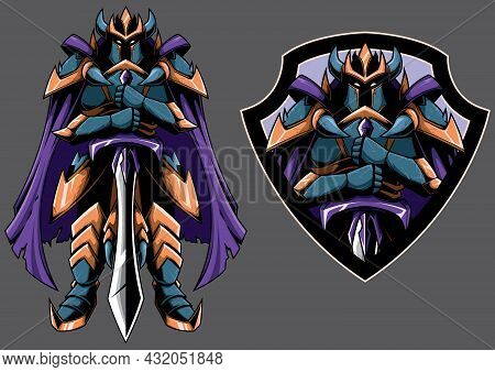 Mascot With Fantasy Dark Guardian Night In 2 Versions.