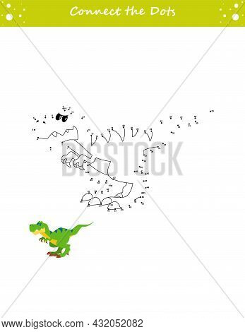 We Draw A Dinosaur. Dot To Dot. Draw A Line. Game For Toddler. Learning Numbers For Kid. Education D