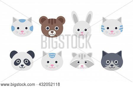 Cute Animal Faces. Cat, Hare, Bear, Panda And Raccoon Characters. Set Animal Heads In Flat Design. I