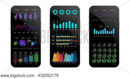 Smartphone Mock Up. Infographic Slide Template. Mobile Phones. Charts, Diagrams And Graphs Collectio