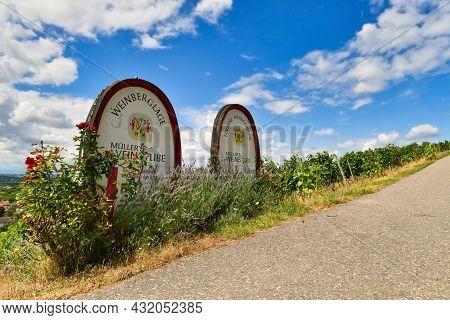 Schriesheim, Germany - August 2021: Sign Of Wine Tavern In Vineyard Hills Saying 'müller's Weinstube