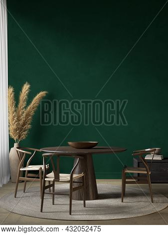 Dark Green Interior With Dining Table And Decor. 3d Render Illustration Mockup.