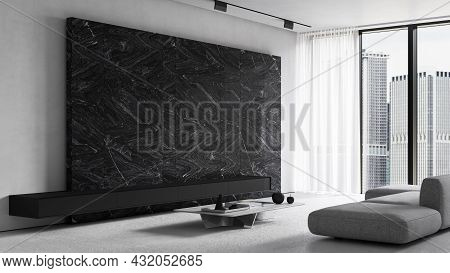 White Modern Minimalist Interior With Black Marble Wall, Sofa And Decor. 3d Render Illustration Mock