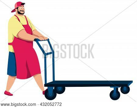 Cartoon Illustration Of Man Pushing Cart With Your Product On It.