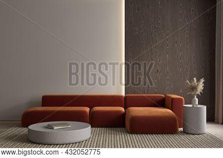 Modern Classic Interior With Orange Sofa And Decor. 3d Render Illustration Mockup.