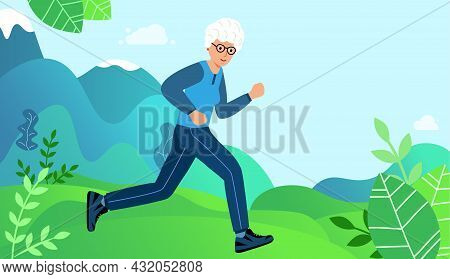 Elderly Woman Is Engaged In Sports Jogging In The Park. Walk Grandmother.