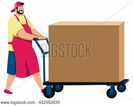 Cartoon Illustration Of Man Pushing Cart With Cardboard Box On It.