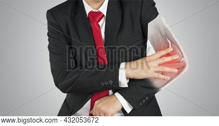 Business Man Feel Elbow Muscle Pain , X-ray Elbow Muscle