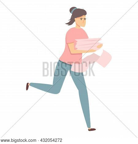 Hurry Worker Icon Cartoon Vector. Morning Rushing. Office Problem