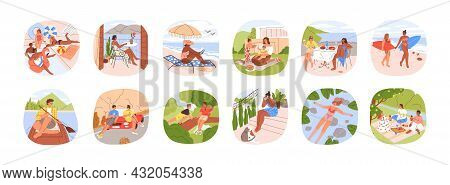 Set Of Summer Outdoor Activities. People Relaxing On Beach, Sea Resort, Nature On Holidays. Scenes O