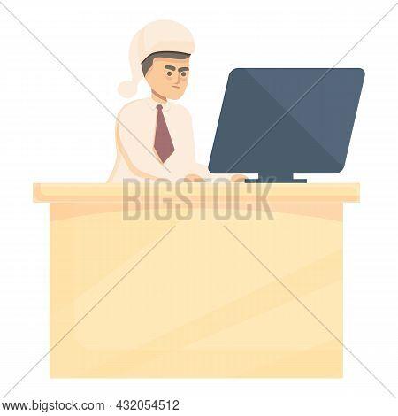 Hard Working Employee Icon Cartoon Vector. Night Work. Overworked Man