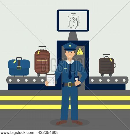 Customs Control Officer Checking Luggage X-rays. Luggage Airport Carousel. Baggage Suitcases Scannin