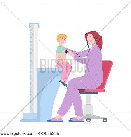 Female Doctor Examining With Stethoscope Heart Beat Of Child, Pediatrician Checkup. Childrens Health