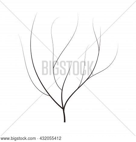 Bald Handdraw  Tree  Vector Illustration Element For Game Design. Winter Tree Without Crown. Dead