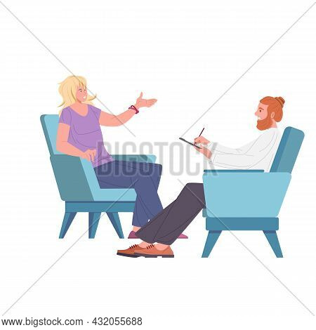 Female Patient And Man Psychologist, Psychoanalyst Or Psychotherapist Sitting In Armchairs In Front