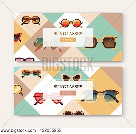 Promotion Banner Design With Modern Sunglasses. Horizontal Background With Trendy Sun Glasses. Ad Te