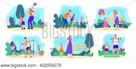 Family Outdoor Activity Set, Vector Illustration, Cartoon Happy Man Woman Character Active In Park T