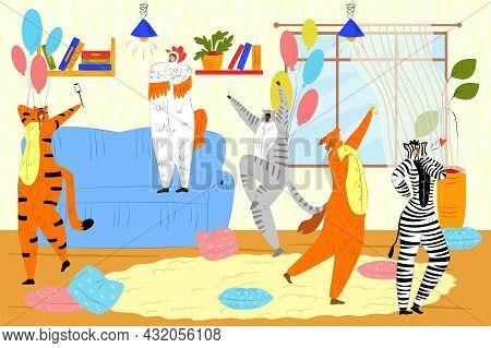 Animal Kigurumi Party, Vector Illustration, Funny Young Man Woman Character Dance In Cute Pajama, Ha