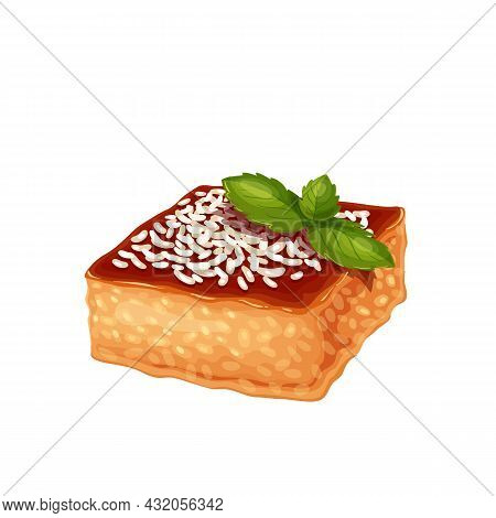 Revani Traditional Turkish Dessert, Turkish Cuisine Cake Vector Illustration.