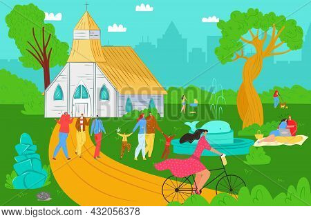 People Lifestyle In Park, Vector Illustration, Flat Young Man Woman Character Walk Outdoor, Summer N