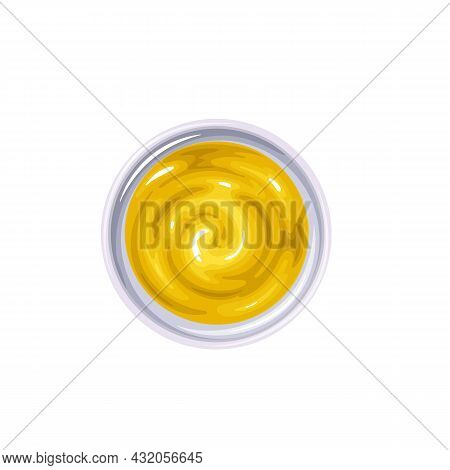 Mustard Sauce In Bowl. Colored Illustration Of Mustard Top View.