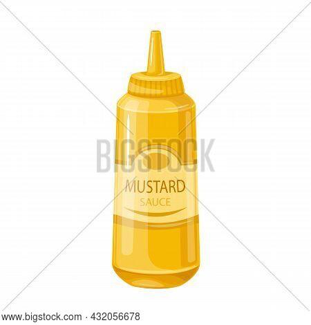 Mustard Sauce In Bottle. Colored Illustration Of Mustard In Cartoon Style.