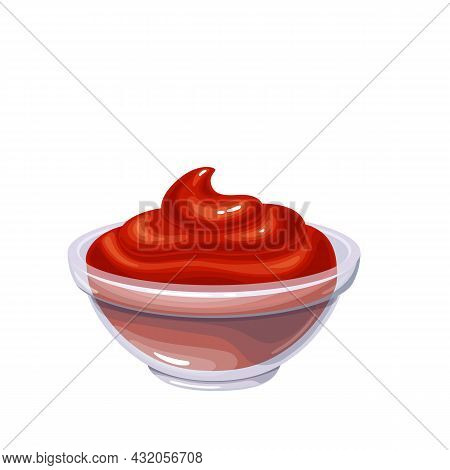 Ketchup Sauce In Bowl. Colored Illustration Of Ketchup In Cartoon Style.