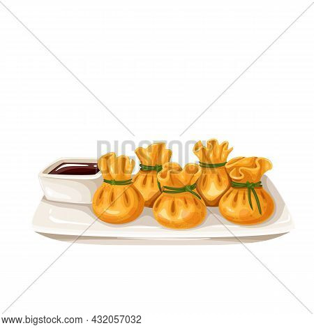 Wonton Chinese Cuisine Icon. Asian Food Vector Illustration.