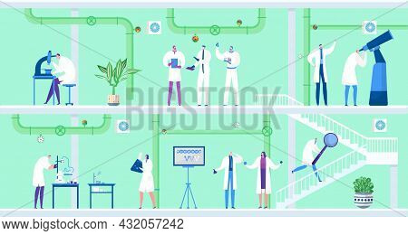 Scientist With Laboratory Equipment Make Chemistry Experiment, Vector Illustration, Man Woman Charac