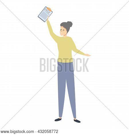 Girl Take Cv Icon Cartoon Vector. Document Resume. Profile Curriculum