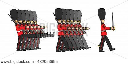 A Festive Military Parade, Marching Royal Guardsmen In Fur Hats, A Detachment Of London Guards, A Co