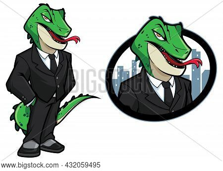 Cartoon Illustration Of Reptilian Man In A Business Suit.