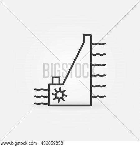 Hydropower Dam Vector Thin Line Concept Icon Or Sign