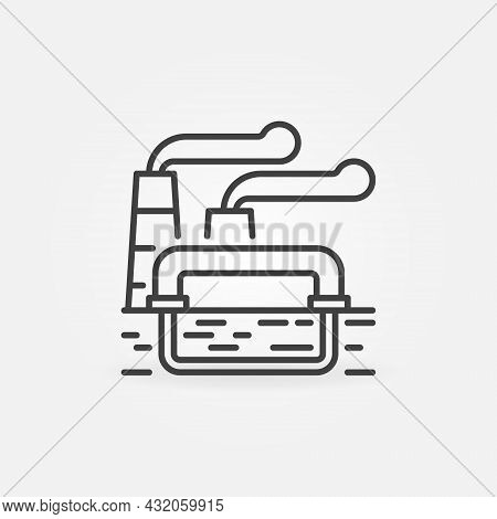 Geothermal Power Station Outline Icon Or Vector Symbol