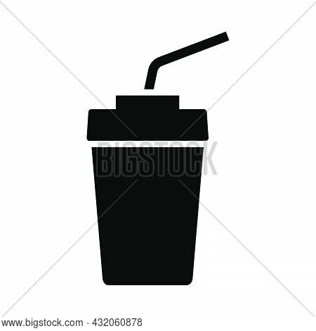 Cinema Soda Drink Icon. Black Stencil Design. Vector Illustration.