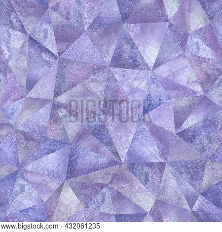 Abstract Geometric Triangles Seamless Pattern. Watercolor Purple Hand Drawn Texture. Watercolour Col