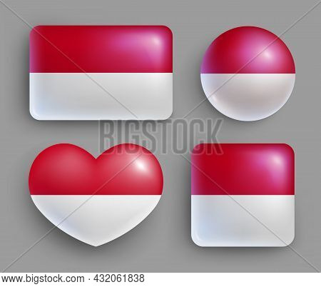 Set Of Glossy Buttons With Indonesia Country Flag. South East Asia Country National Flag, Shiny Geom