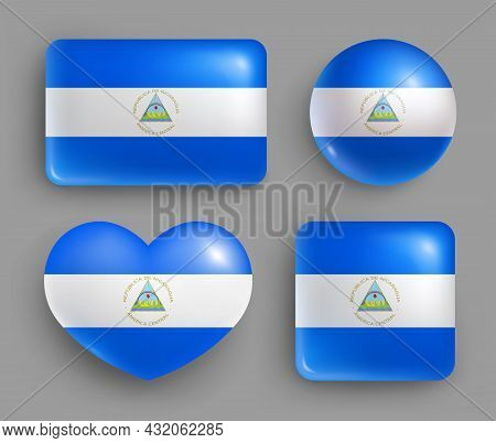 Set Of Glossy Buttons With Nicaragua Country Flag. Central America Country National Flag, Shiny Geom