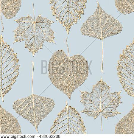 Autumn Fairy Abstract Glitter Transparent Gold Leaf Skeleton Seamless Pattern. Luxury Yellow Golden