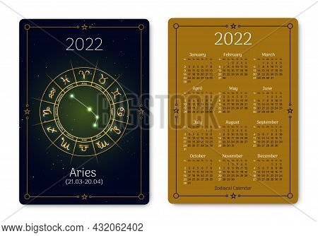 Aries Pocket Size Calendar Layout With Zodiac Sign. 2022 Year Double Sided Vertical Calendar With Ar