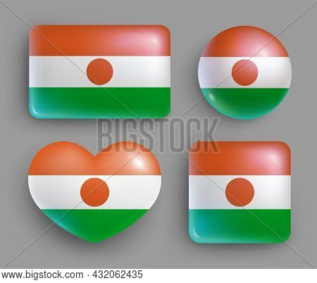 Set Of Glossy Buttons With Niger Country Flag. Western Africa Republic National Flag, Shiny Geometri