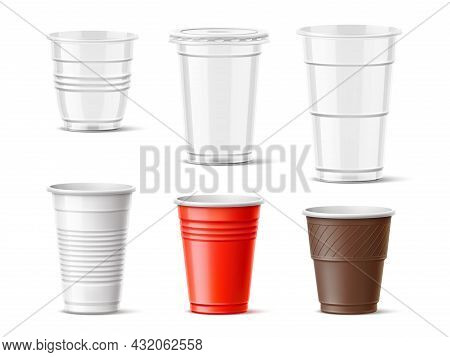 Plastic Cups. Realistic Transparent And Color Drinks Takeaway Mugs, Hot And Cold Beverages Container