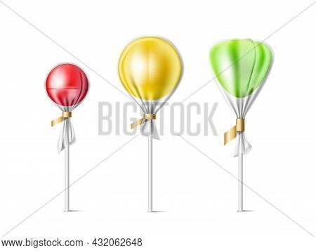 3d Lollipop. Transparent Wrappers Candies And Realistic Different Shapes Lollipops In Plastic Packag