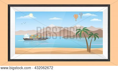 Picture In A Frame. Orient Fairy Tale In Pastel Colors. Cartoon Style. Isolated Monochromatic Backgr