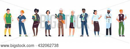 Different Professions People. Job Variations, Men And Women Characters In Uniform, Teacher, Doctor,