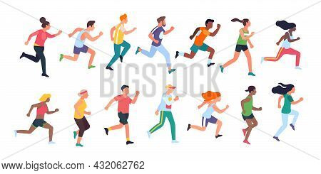 Running People. Sport Activity, Men And Women Run, Athletes In Uniforms, Different Runners Character