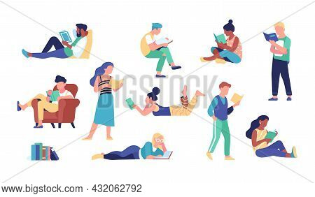 People Read Books. Adults Characters While Reading, Bibliophiles And Book Lovers, Getting Knowledge,