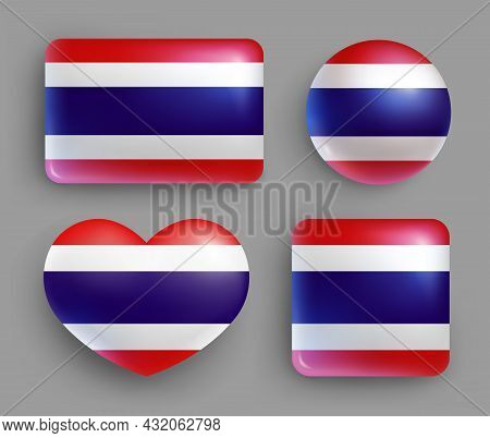 Set Of Glossy Buttons With Thailand Country Flag. Southeast Asia Country National Flag, Shiny Geomet